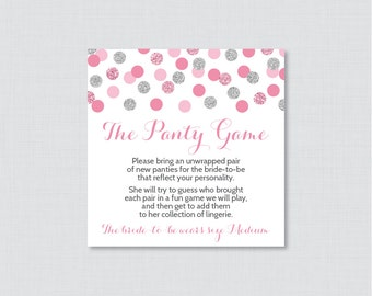 Pink and Silver Panty Game - Printable Pink and Gray Panty Game Card AND Sign - Lingerie Shower Game, Bachelorette Party Game 0001-S