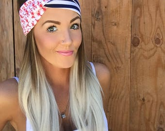 Lobsters + Stripes Vintage Style Turban Headband    Hair Band Navy Blue Red White Accessory Cotton Knit Workout Yoga Fashion Head Scarf Girl