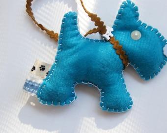 Blue Turquoise  Christmas Ornament Pincushion Charm Doggie  Scotty Felt Charm
