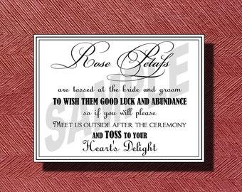 Wedding Petal Toss Sign