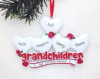 5 Grandchildren Personalized Christmas Ornament / Grandparents Ornament / Grandmother Ornament / Grandfather Ornament