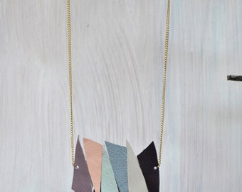 Leather spike necklace/ Eco friendly Pastel colors triangles necklace.
