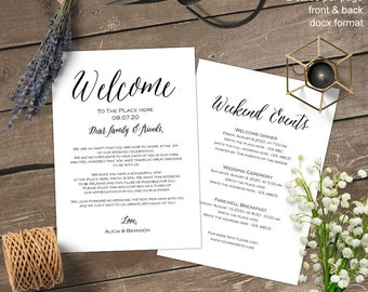 Printable, Wedding weekend itinerary, Wedding itinerary, welcome bag letter, note, template, instant download, S13