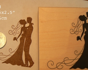 P58 wedding couple, bride and groom silhouette rubber stamp
