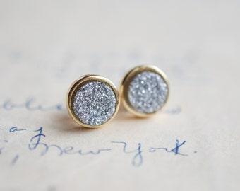 Silver Druzy Earrings - Gray Druzy Earrings - Charcoal Druzy Earrings - Gold druzy - Sparkly earrings - spring earrings - Sparkling Druzy