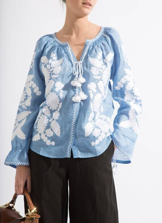 chic embroidery Urban with blouse ljm style floral oversize Mexican Vyshyvanka Casual Loose blouse fit R1q4ZZvwn