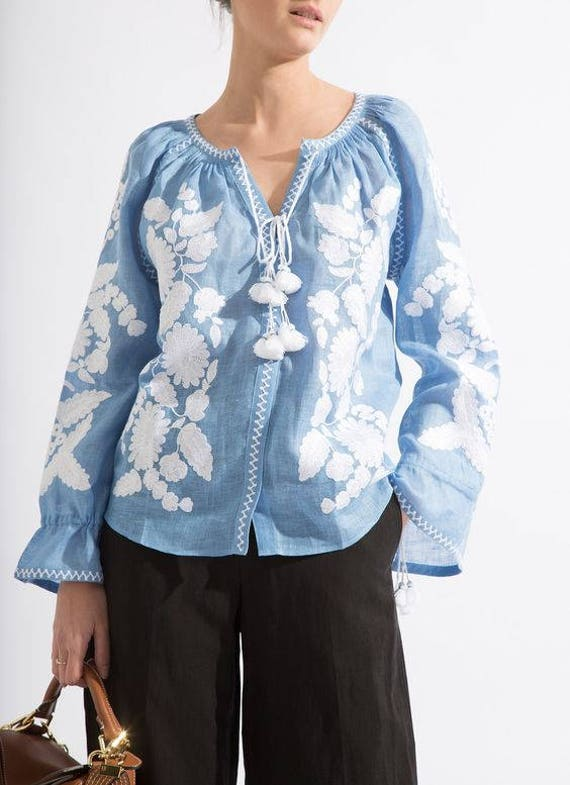 with chic floral style Mexican blouse Casual Loose blouse fit Vyshyvanka ljm oversize embroidery Urban vqRtE