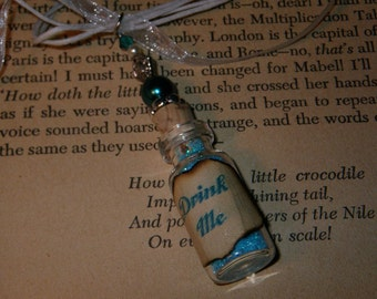 Drink Me Necklace, Alice in Wonderland Necklace, Teal Blue Drink Me Glass Vial Necklace