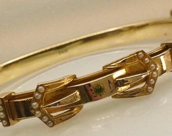 Beautiful handcrafted vintage 14kt gold bangle bracelet.