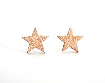 Star stud earrings, rose gold studs, wood studs, star studs, tiny star earrings, lightweight earrings, eco friendly earrings, hypoallergenic