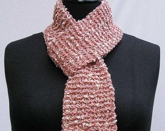 Peach scarf, cream scarf, peach and cream scarf, knubbly scarf, upcycled scarf, reclaimed yarn scarf, hand knitted scarf, refashioned scarf