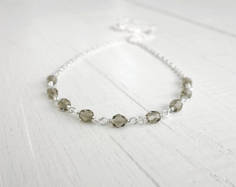 Sparkly necklace minimalist chain necklace grey bead necklace small bead necklace for women