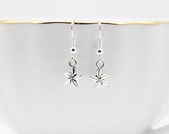 Starfish Charm Earrings, Silver Earrings, Cute Jewelry, Beach Earrings, Beach Jewelry, Handmade Jewelry, Dangle Earrings, Star Earrings