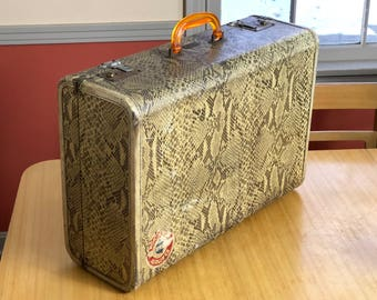 Vintage Koch's Aviation Snake Skin Suitcase, Suitcase Vintage 1920s, Antique Suitcase, 1930s 1940s Luggage, Photo Props, Movie Props