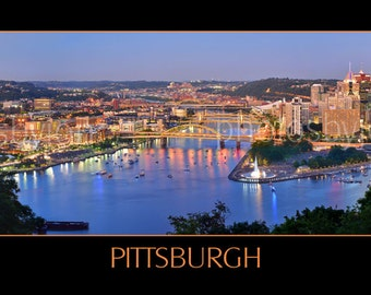 Pittsburgh Skyline at Dusk Sunset BORDERED COLOR or BW Panoramic Photo Poster Cityscape Print