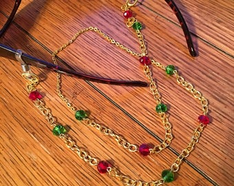 Eyeglasses Chain. Red and Green Glass Bead. Gold chain.