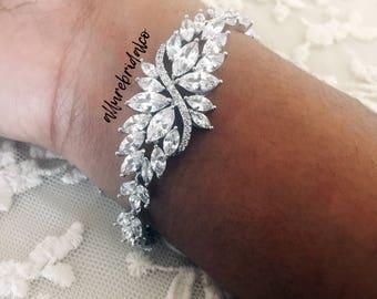 Bridal Bracelet,Cubic Zirconia Bracelet, Wedding Bracelet, CZ Bracelet, Silver Bracelet, Wedding Jewelry, Prom Bracelet, Bridal Jewelry