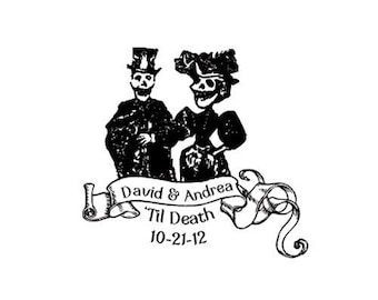 dia de los muertos Til Death wedding day of the dead bride and groom Custom rubber stamp Halloween