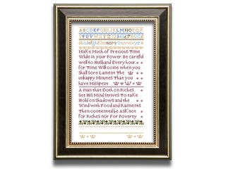 Precious Time sampler. Cross stitch sampler design. Antique sampler pattern. Instant download PDF.