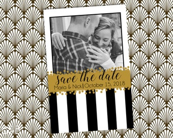 Custom Art Deco Gold, Black, and White Stripes Postcard Save the Date