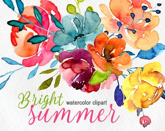 Watercolor flowers clip art hand painted floral png / bright summer aquarelle florals leaves branches wedding clipart Free Commercial Use