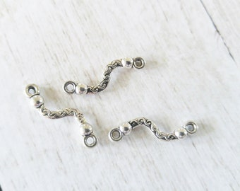 Silver Links Antiqued Silver Pendant Connectors Squiggle Charms Curved Connector Charms Bracelet Links Silver Charms 3 pieces