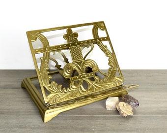 Vintage brass book easel...brass book stand...book holder.