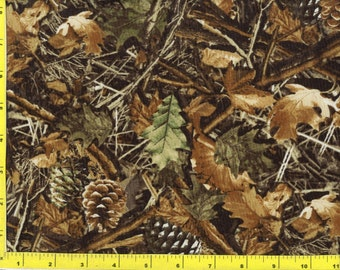 Woodland Camo Leaves and Pine Cones Quilting Fabric by the yard 172