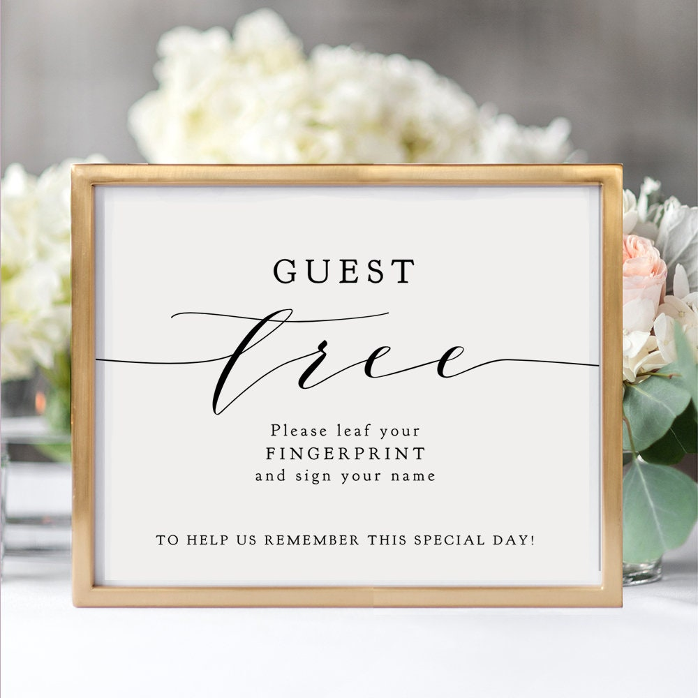 Pictures For Guests Fingerprints And Wishes: Guest Tree Fingerprint Sign Wedding Thumbprint Guest Book