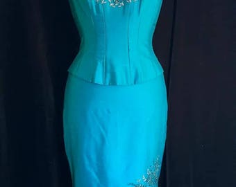 BEAUTIFUL strapless BLUE and turquoise silk pencil skirt