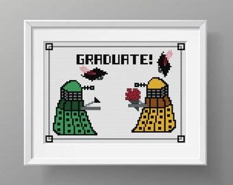 "DOCTOR WHO Modern Cross Stitch PDF Pattern ""Graduate"" / Dr Who / Whovian / Dalek / Cross Stitch Pattern"