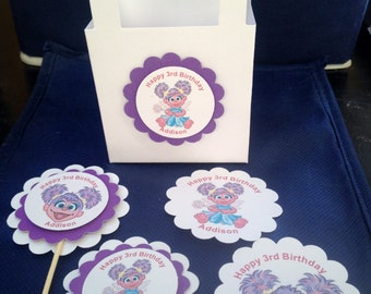 Abby Cadabby party Cupcake Toppers Sesame Street Muppets Birthday Party Baby Shower