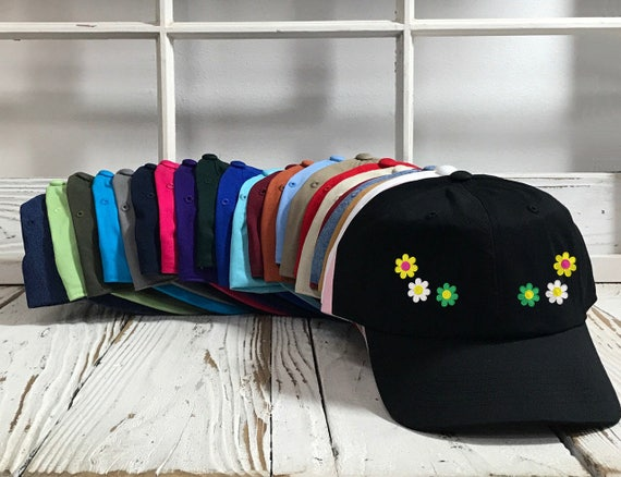 DAISIES Dad Hat, Embroidered Spring Floral  Baseball Cap Flower Dad Hat Low Profile Curved Bill Daisy Hats - Multiple Colors