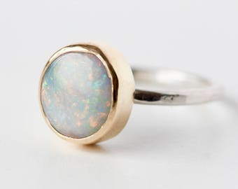Australian Opal Ring in Recycled 14k Gold and Sterling Silver - Oval Flashy Gemstone October Birthstone - One of a Kind