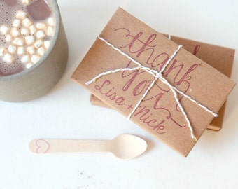 Hot chocolate wedding favors. Rustic winter wedding gift set of 50 with custom stamp.