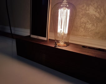 Edison lamp/Dock Charging Station/Farmhouse decor/Table lamp/Steampunk pipe light/housewarming/dock station iPhone Android