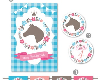 DIGITAL FILES Pony Party Decorations, Princess Party Decor, Pony Princess Party, Farm Party, Girl Birthday, DIY Party Collection Party Kit