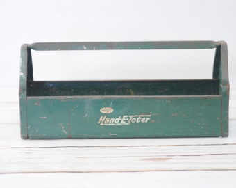 Vintage Green Metal E-Z TOTER Tool Box Caddy Simonsen Ind. Chicago, IL
