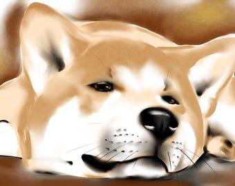 Akita Inu watercolor print on canvas