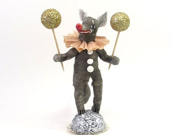 Spun Cotton Vintage Style Woodland Circus Clown Wolf (MADE TO ORDER)
