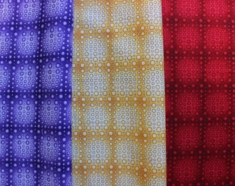 Bright Yellow Red and Purple Polka Dot Grid Cotton Fabric Fat Quarters and Remnant