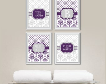 Bathroom Decor - Bathroom Art - Wash Brush Flush - Flower Bathroom - Bath Art - Bath Decor - Purple Gray - Personalized Bath Art (NS-720)