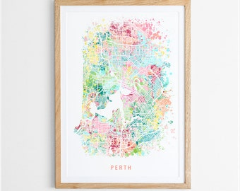 Perth Map Print - Abstract Map / WA / Australia / City Print / Australian Maps / Giclee Print / Poster