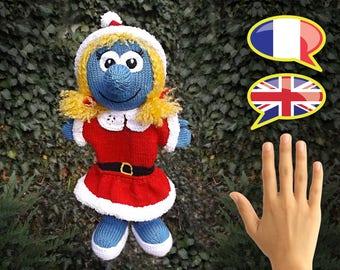 KNITTING tutorial/pattern: Christmas smurfette puppet - puppet Smurfette