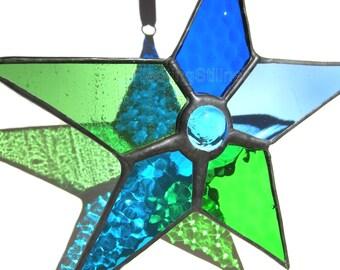 Stained Glass Star Sun Catcher Blue Green Handmade OOAK