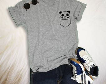 Panda Pocket Tee Panda Shirt Funny Saying Trendy Gray Fashion Women Teen Girl Shirt Graphic Tee Unisex Mens TShirt Tumblr Panda T-Shirt