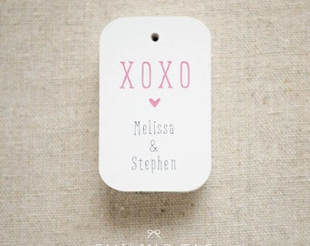 XOXO Wedding Favor Tags (Medium) - Personalized Gift Tags - Hang Tags - Gift Wrap - Swing Tags - Set of 20 (Item code: J404)