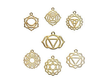 Chakra Charm Collection Gold Plated 7 Different Charms  - COL348