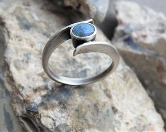 Lightning Ridge Solid Natural Black Opal Sterling Silver Ring.