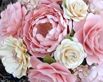 Paper Bouquet - Paper Flower Bouquet - Wedding Bouquet - Pink and Ivory - Custom Made - Any Color